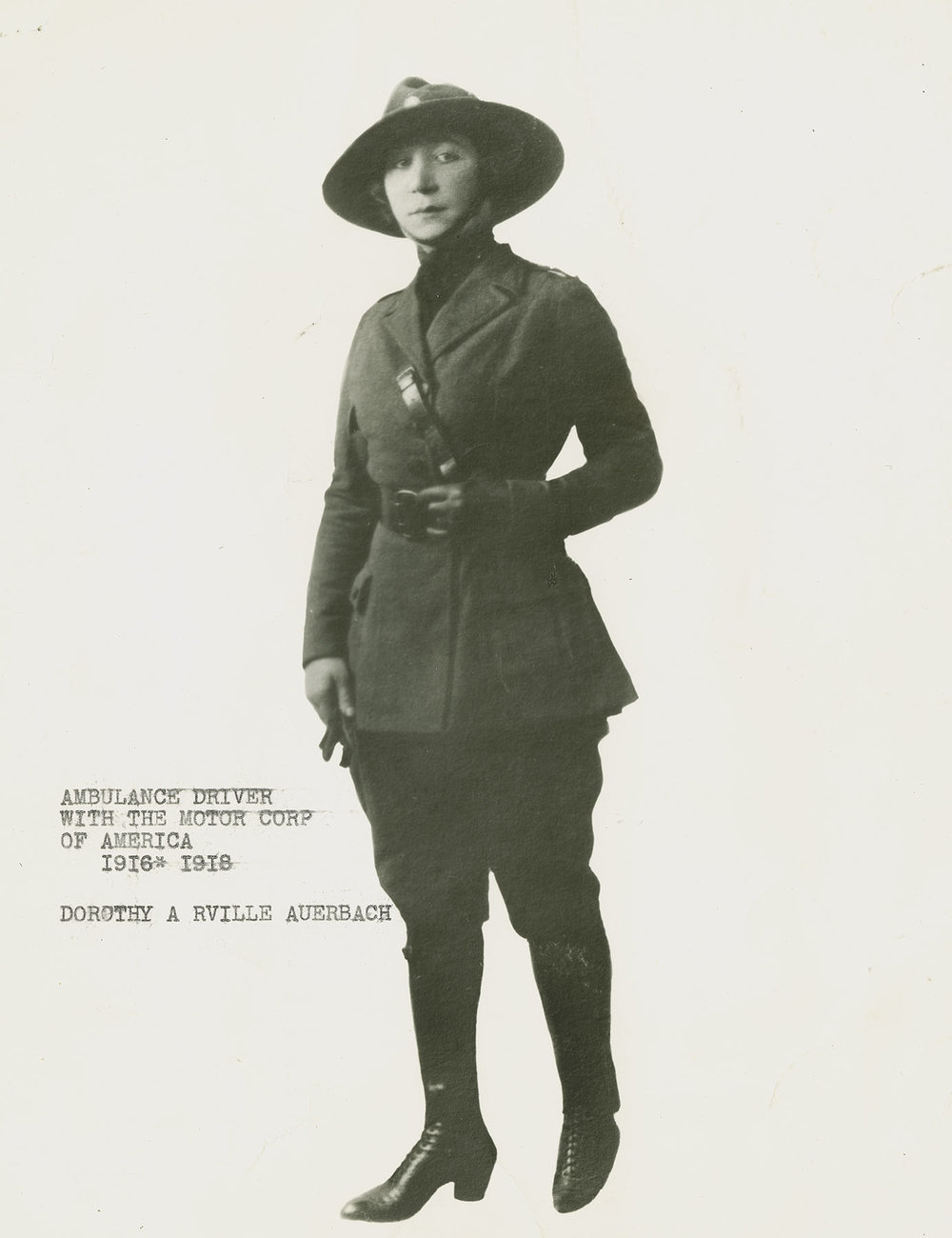 Dorothy Arville Auerbach, Nurse and Ambulance Driver with the Motor Corps of America, 1916-1918. Mayor LaGuardia Collection, NYC Municipal Archives.