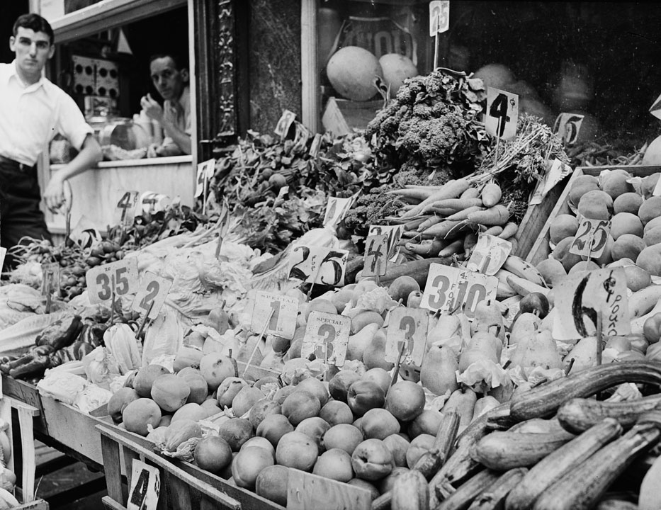 Italian vegetable stand, ca. 1937.  WPA FWP Sidewalk Markets, #7  Photographer unknown. WPA Writers' Project, neg. no. wpa_509