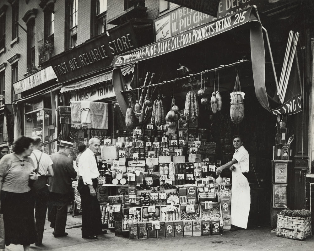 Italian grocery store sidewalk display, 1937.  WPA FWP Shop Exteriors, Folder 1, # 24.  Photograph by Ezzes. WPA Art Project, neg. no. 2449-7.