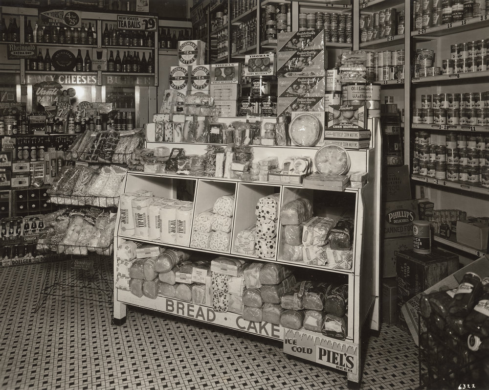 Dry goods display in delicatessen, ca. 1939.  WPA FWP Shop Interiors #12  Photograph by George W. King, National Delicatessen Grocer