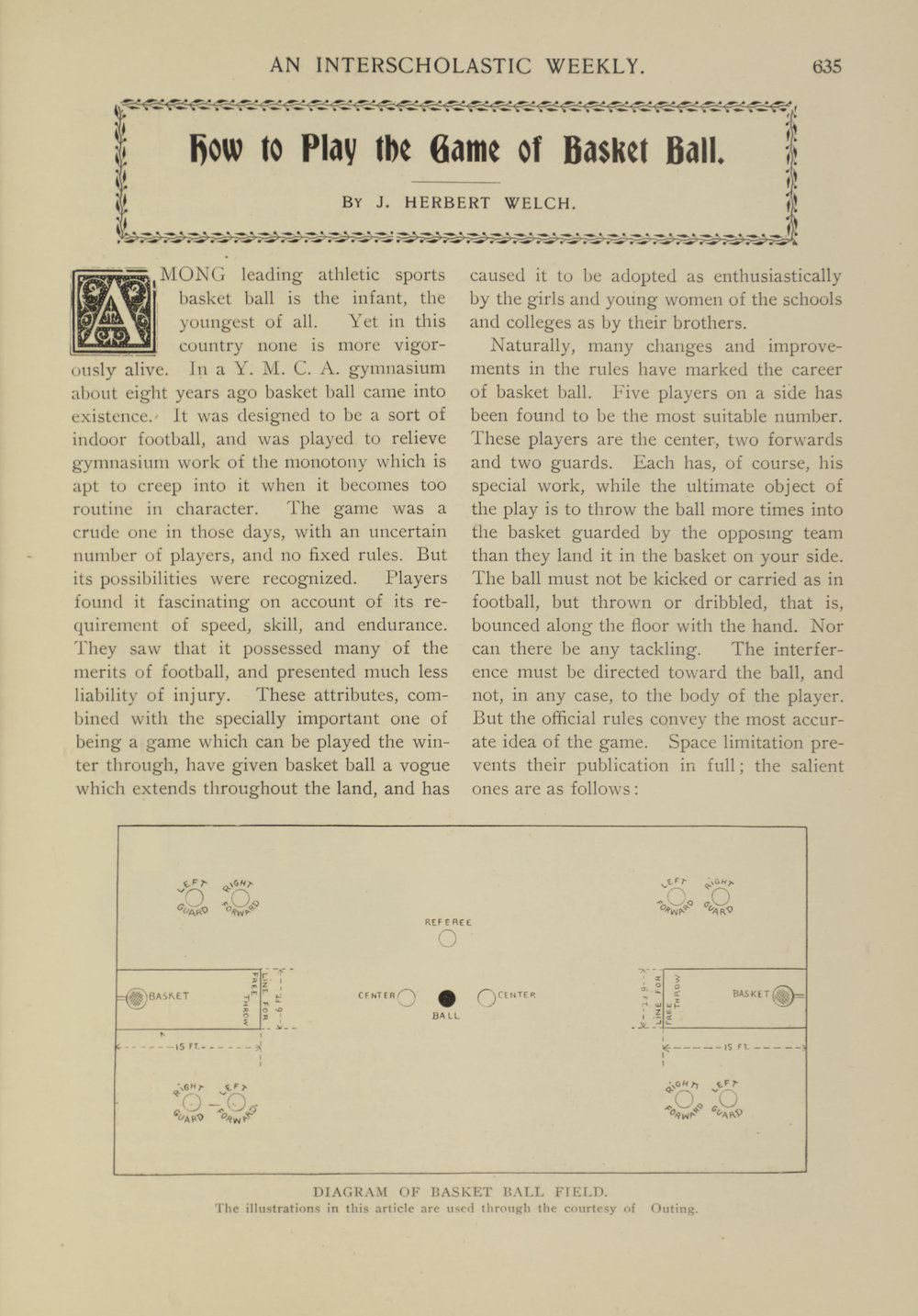 """How to Play the Game of Basket Ball."" Herbert Welch,  High School Bulletin , #46, Feb. 1900. Board of Education Collection, NYC Municipal Archives."