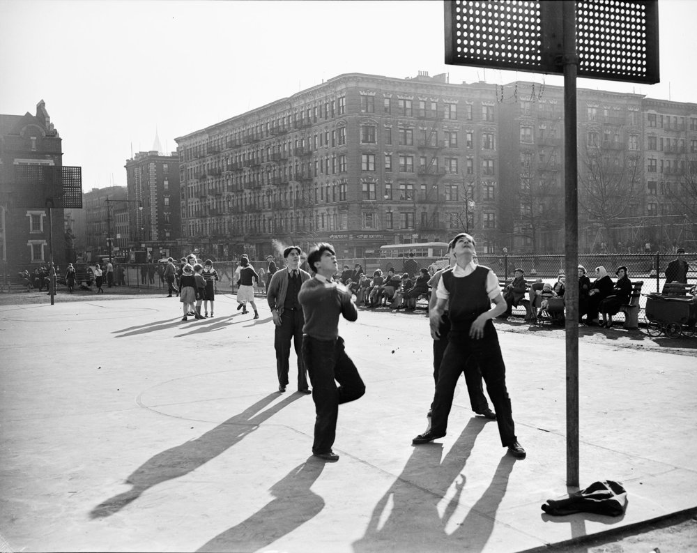 WPA_682a: Playground Basketball, 68th Street and 1st Avenue, New York City, May 21, 1938. Photo by E.M. Bofinger, WPA Federal Writers' Project Collection, NYC Municipal Archives.