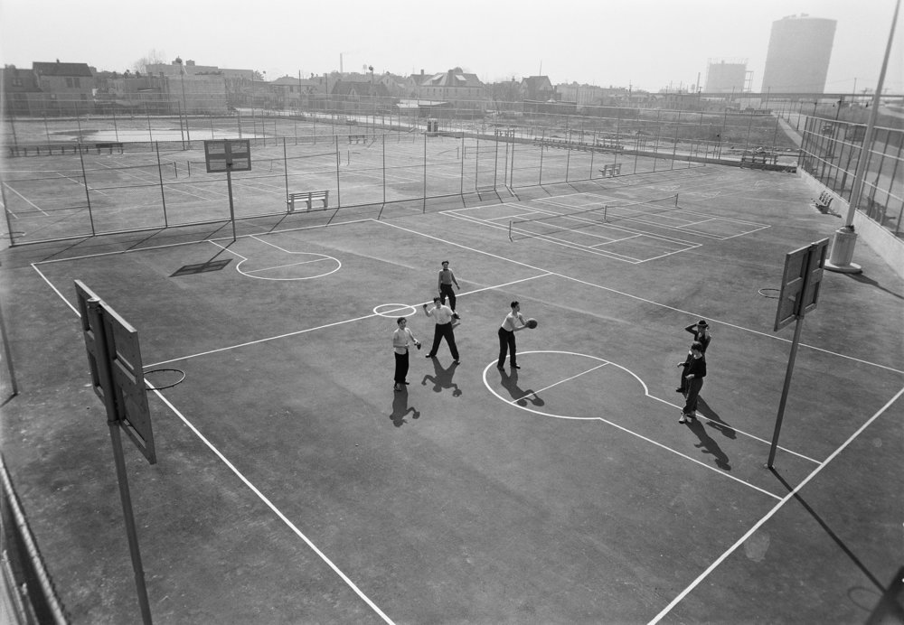 DPR_19876: Abraham Lincoln High School Playground, March 27, 1941. Department of Parks and Recreation Collection, NYC Municipal Archives.