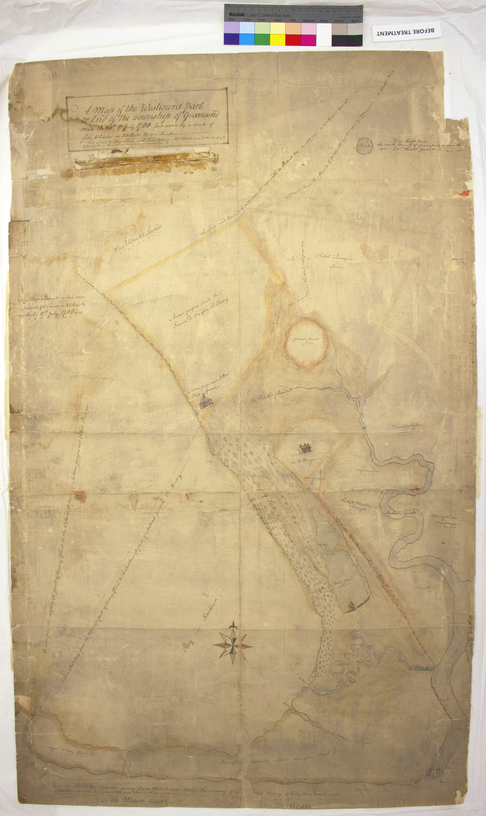 1788 map of Gravesend, Brooklyn, before treatment, recto.