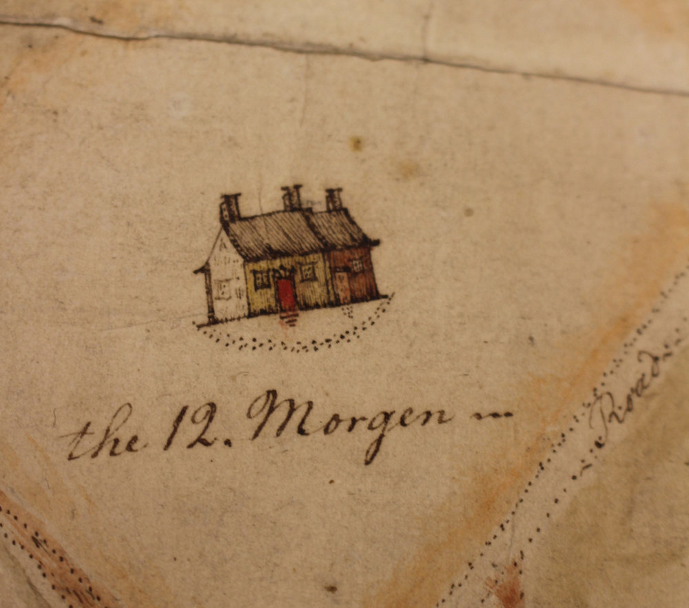 After treatment, detail. A morgen (morning) was a Dutch unit of measurement representing the amount of land that could be plowed in one morning.