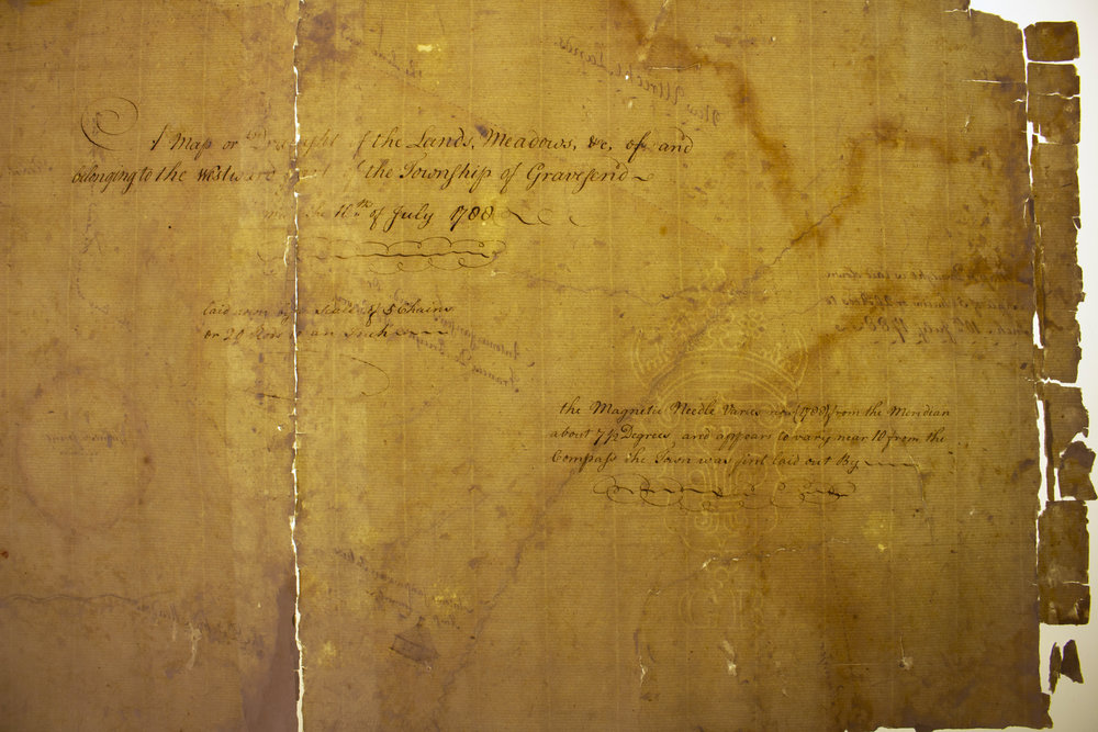 During treatment, detail of writing on verso and watermark.