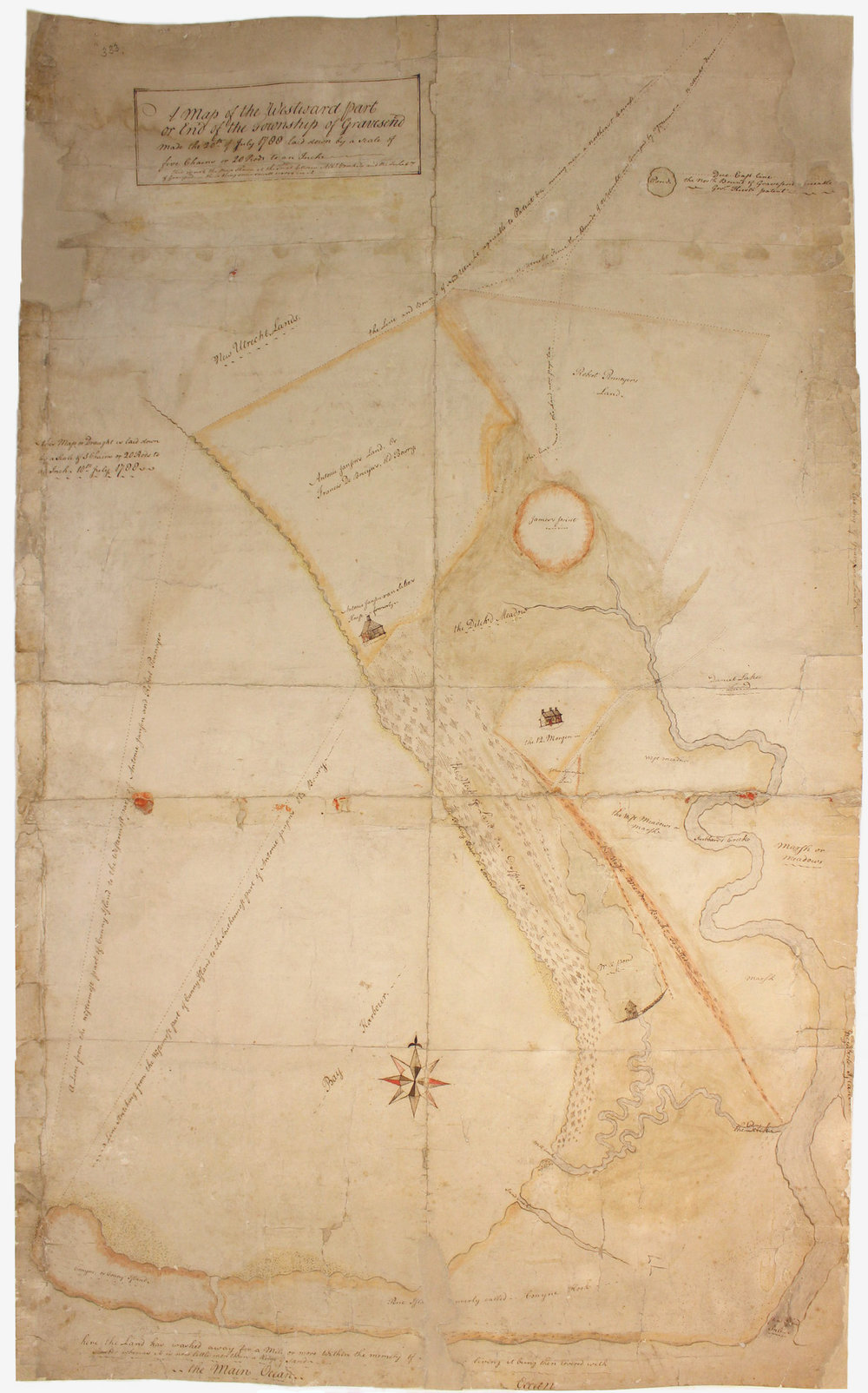 1788 map of Gravesend, Brooklyn, after treatment, recto.