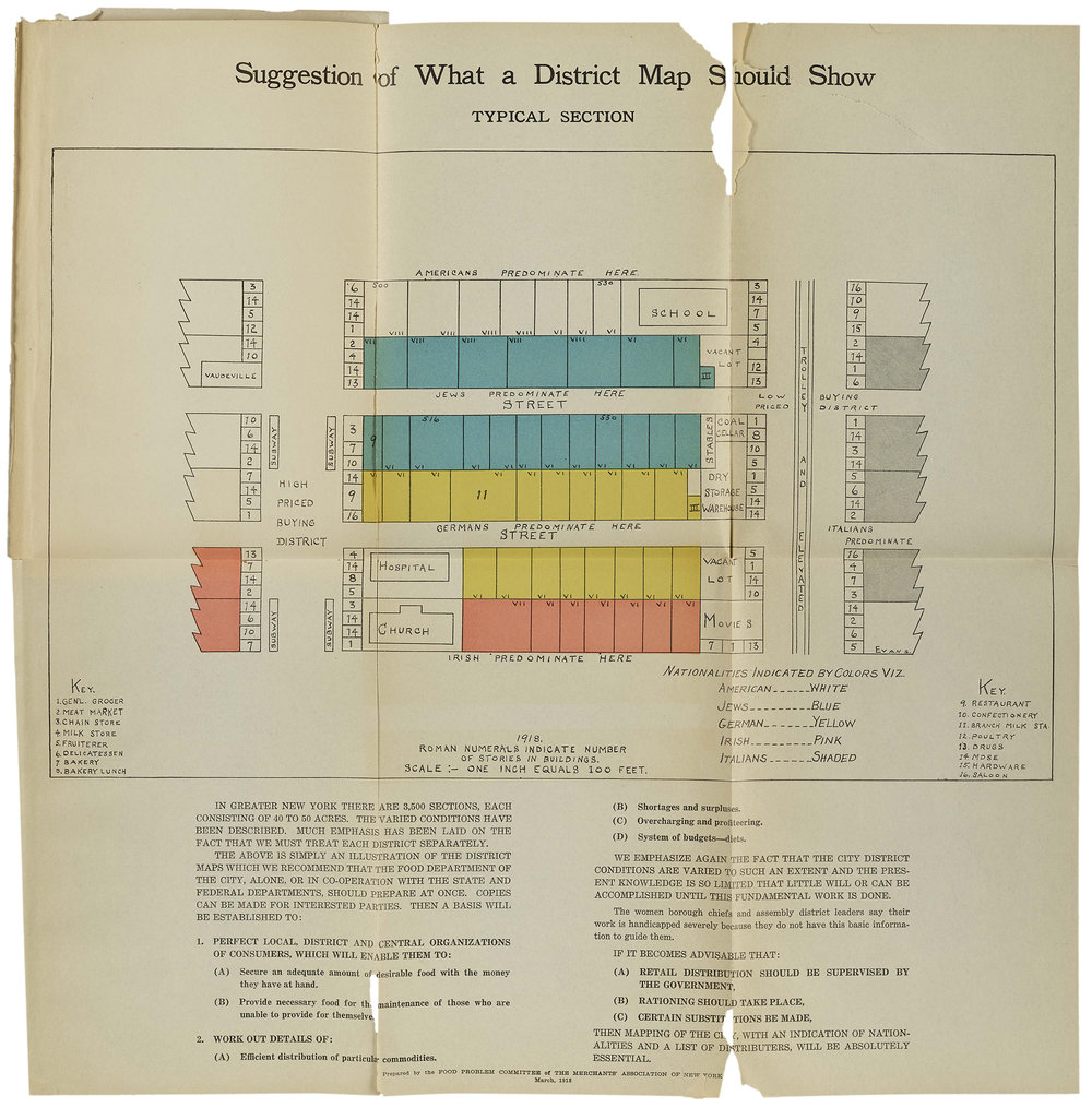 """""""What a District Map Should Show,""""  Report of the Food Problem Committee , 1918. NYC Municipal Library."""