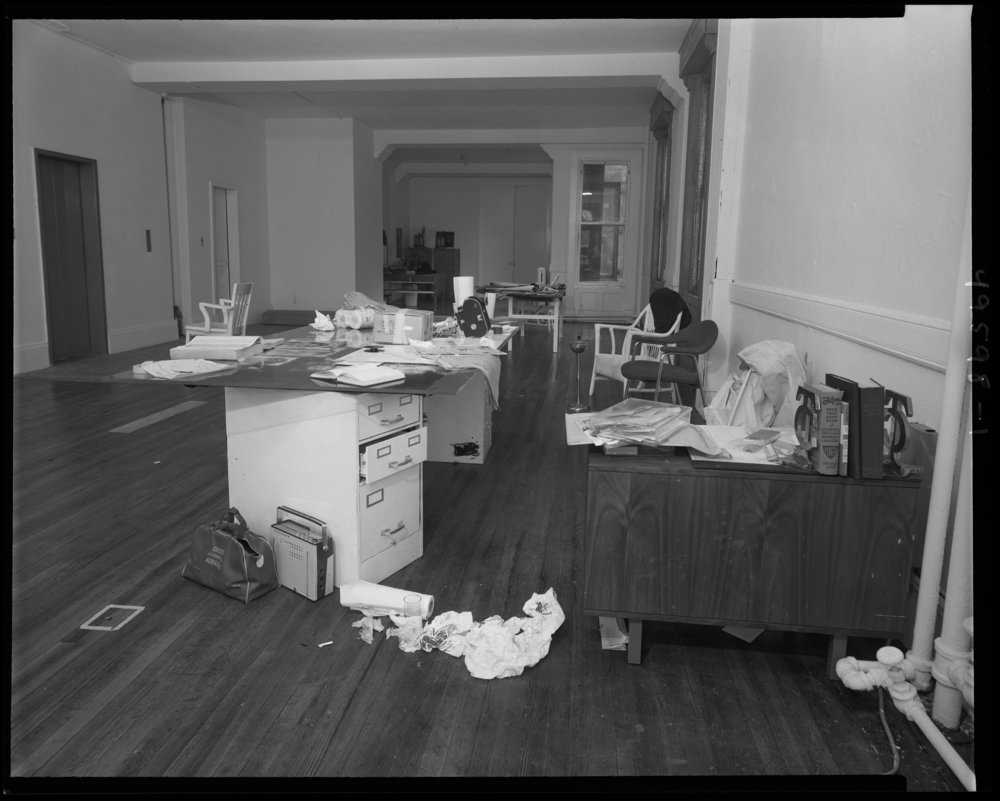 nypd_49598-01: Felonious assault scene at 33 Union Square where Andy Warhol and Mario Amaya were shot by Valerie Solanas, desk area with bloody paper, facing west, June 4, 1968. NYPD Photo Collection, NYC Municipal Archives.
