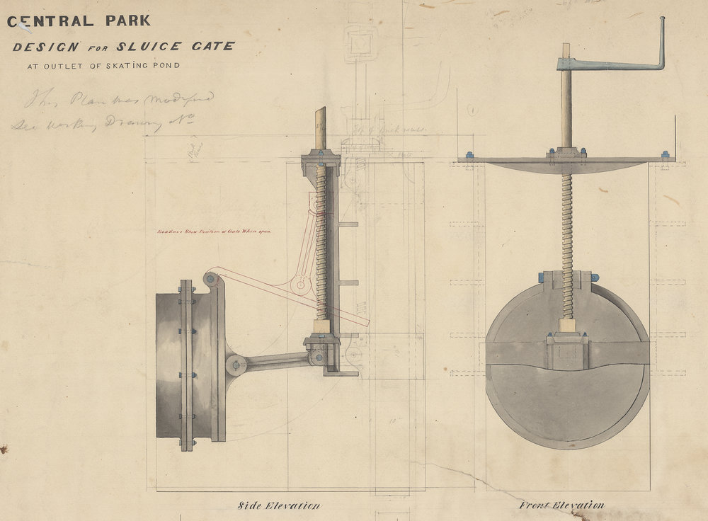 Design of the sluice gate for the outlet of the Skating Pond, c. 1858. Black and red ink with pencil, blue crayon, and colored washes on paper. Department of Parks Collection, NYC Municipal Archives.