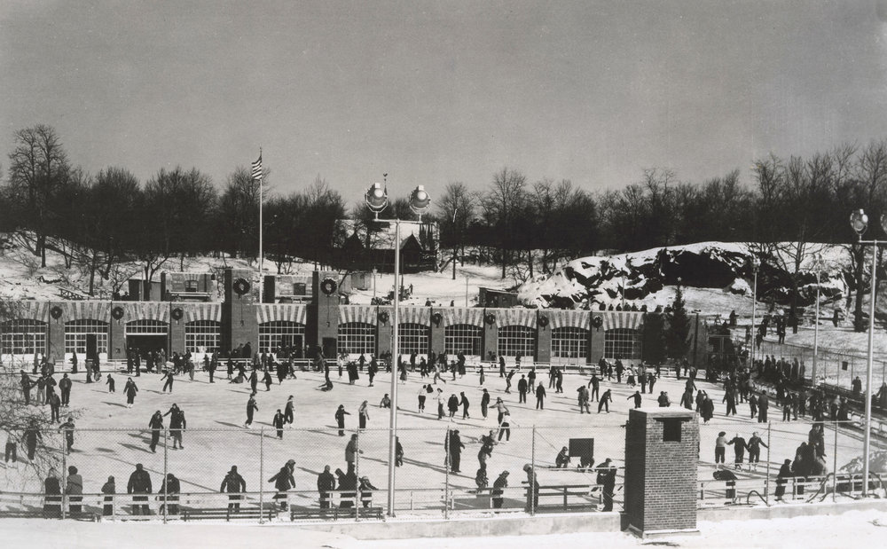 Wollman Memorial Skating Rink, Central Park, 1960. Mayor Wagner Collection, NYC Municipal Archives.