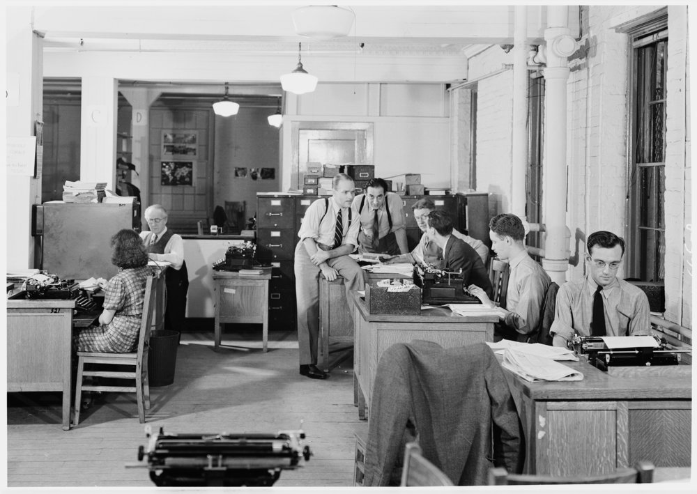 Staff of the NY City Unit of the WPA Federal Writer's Project, ca. 1938.