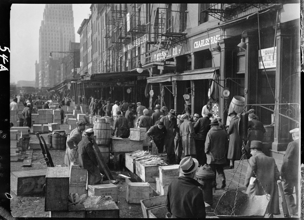 South Street Fish Markets, ca. 1937. Photograph by Clifford Sutcliffe, WPA Federal Writers' Project collection, NYC Municipal Archives.