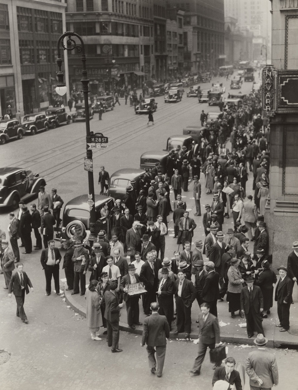 Garment Center at noon-time, 28th Street and Seventh Avenue, June 1936. Photograph by Dorothea Lange, WPA Federal Writers' Project collection, NYC Municipal Archives.
