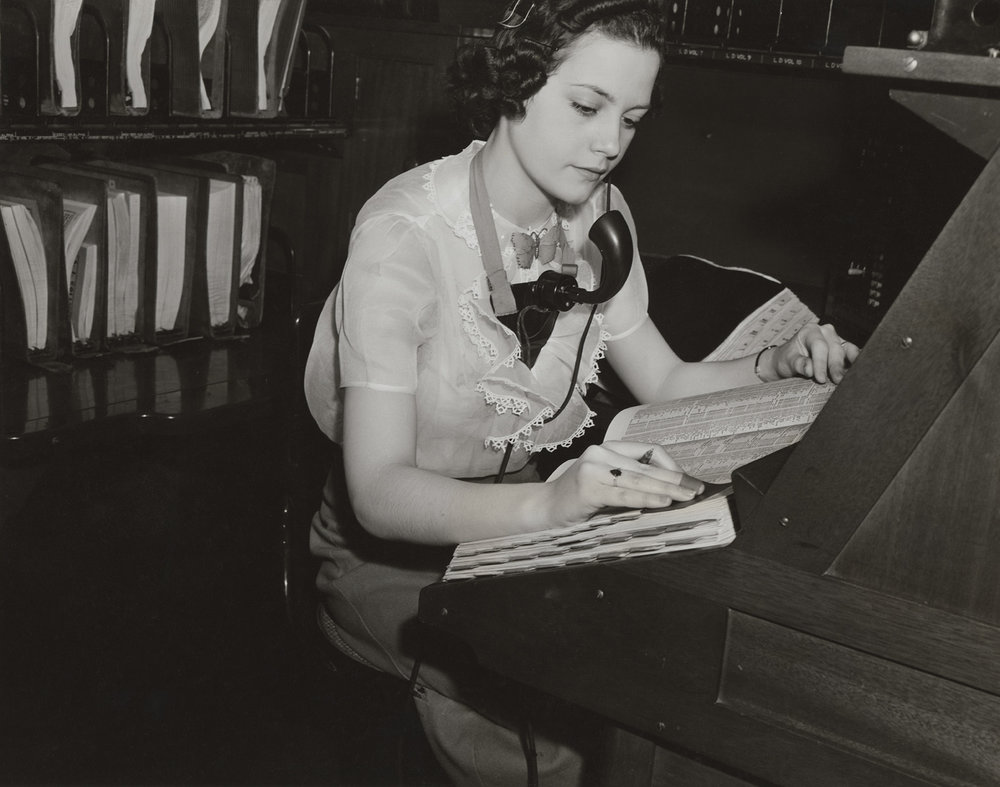 Telephone Operator, May 25, 1938. Photograph by Andrew Herman, WPA Federal Writers' Project collection, NYC Municipal Archives.