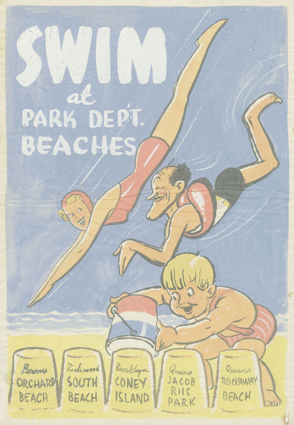 """Swim"" original art for subway, 1937. Tempura water color on tissue paper; artist unknown. Department of Parks General Files, NYC Municipal Archives.  A life-long swimmer, Parks Commissioner Robert Moses vastly expanded access to aquatic facilities for New Yorkers. In 1936, he opened ten new swimming pools and during his long tenure he built and improved public beaches throughout the city."