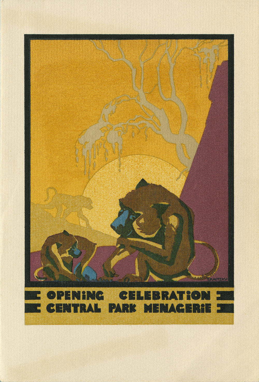 Invitation to the Menagerie in Central Park, 1934. Color half-tone on paper; artist unknown. Mayor LaGuardia Parks Department correspondence, NYC Municipal Archives.  Good design was a hallmark of Commissioner Moses' public works as evidenced by this 1934 invitation and during the Great Depression he could draw on a large pool of readily available talented architects and designers.