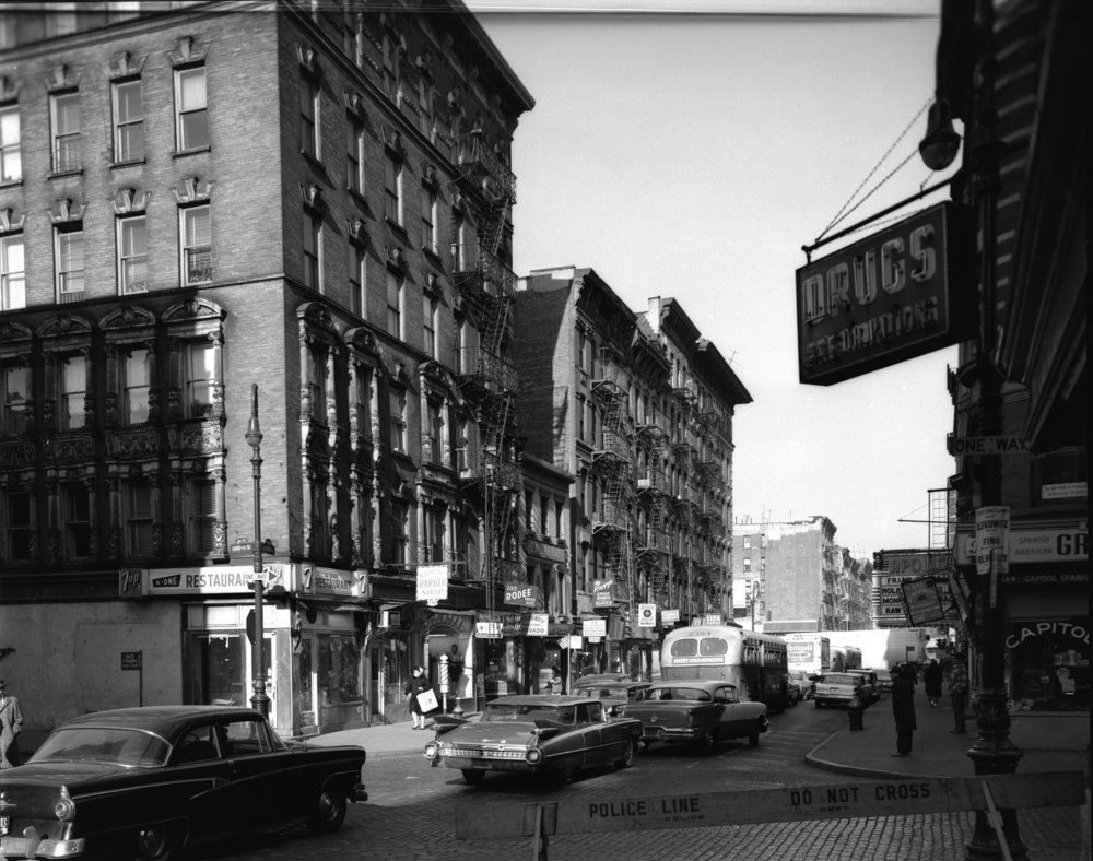Seward Park Extension, Broome Street, looking west from Clinton Street, December 1961. Photographer unknown.