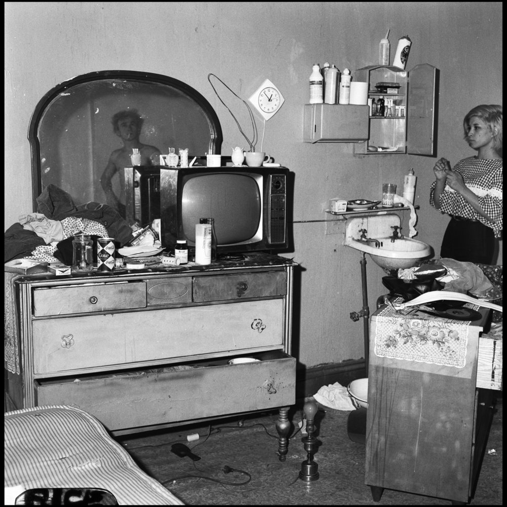Interior of a rooming house, 143 West 47th Street, November 1966. Photograph by Paul Rice.