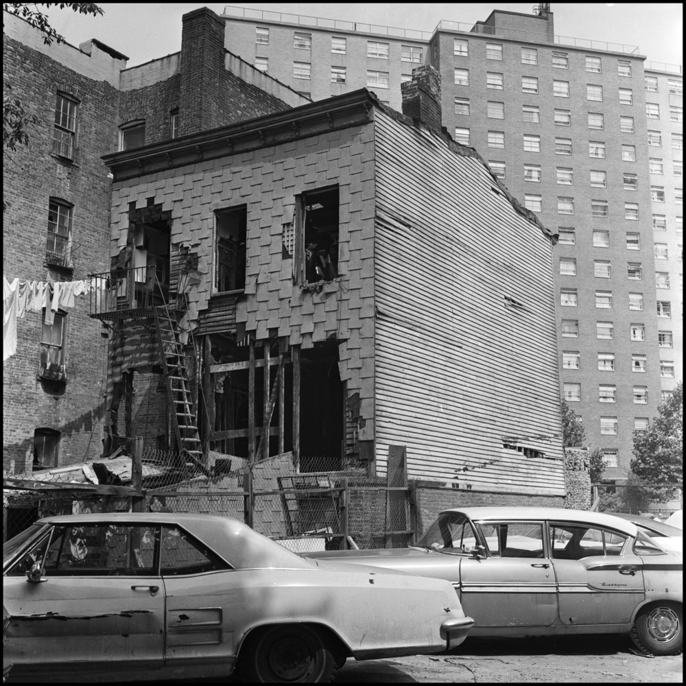 Unsafe building, location unknown, 1970. Photograph by Paul Rice.