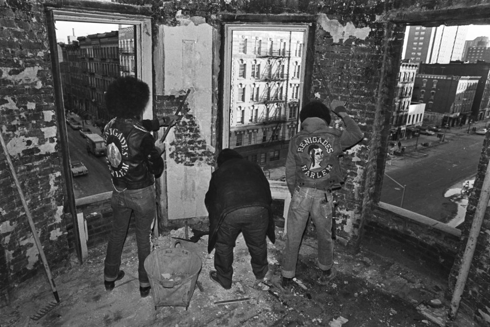 """""""Renigades"""" Co-Op conversion, 251 East 119th Street. Youth Action Community Program of East Harlem, January 1974. Photograph by Leonard Boykin."""