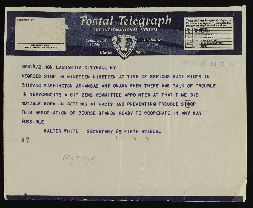 Telegram from Walter White of the NAACP urging the forming of a citizens committee to investigate conditions in Harlem in order to prevent further trouble. Mayor LaGuardia Collection, NYC Municipal Archives.