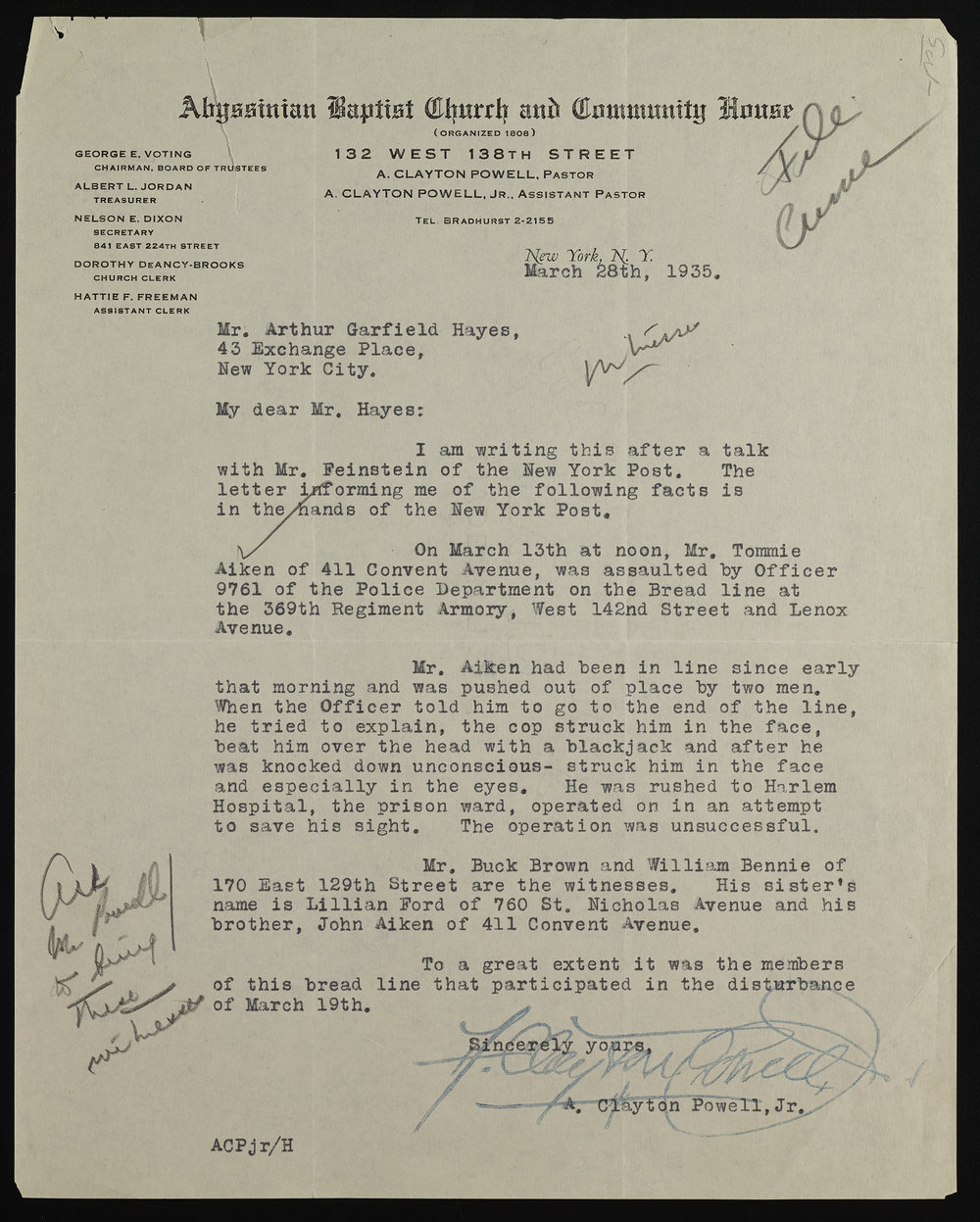 Letter from Adam Clayton Powell to the commission. Mayor LaGuardia Collection, NYC Municipal Archives.