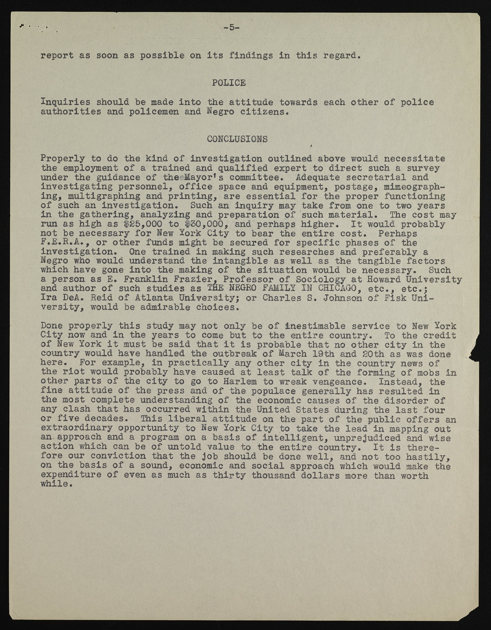 Letter from Walter White of the NAACP laying out the proposed investigation questions the committee should follow. Mayor LaGuardia Collection, NYC Municipal Archives.