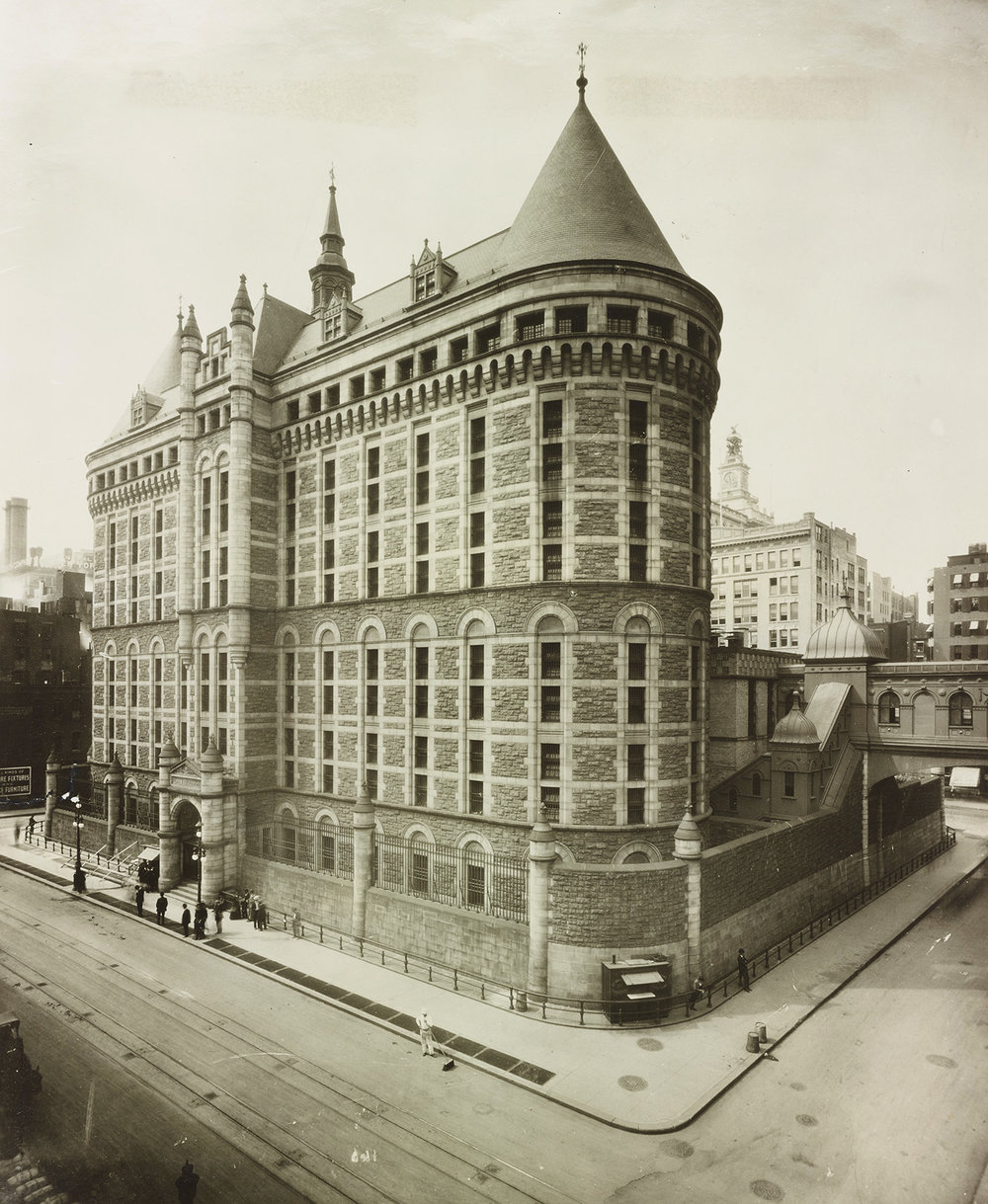 "MAC_1926: ""The Tombs"" (Men's House of Detention): Centre to Lafayette Street, Leonard to Franklin Street, ca. 1941. Courtesy of Jail Association Journal, NYC Municipal Archives Collection."