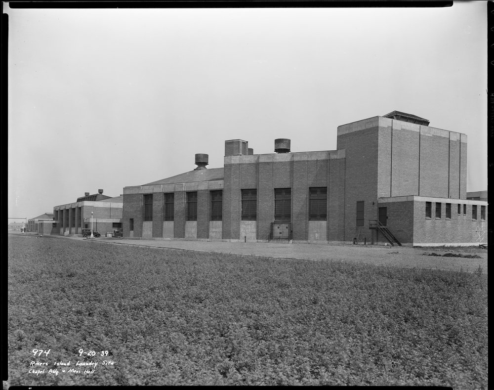 dpw_0974 Rikers Island Laundry Site, Chapel Building and Mess Hall, September 20, 1939. Joseph Shelderfer, Department of Public Works Collection, NYC Municipal Archives.