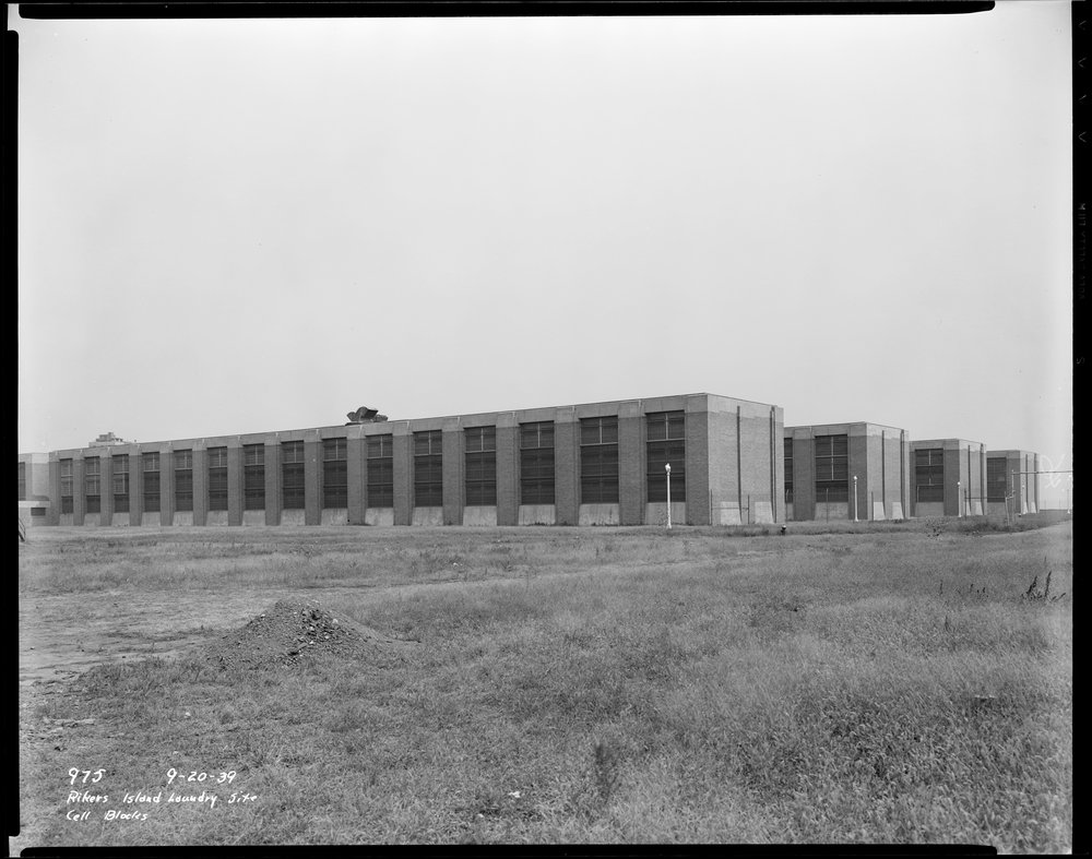 dpw_0975: Rikers Island Laundry Site, cell blocks, September 20, 1939. Joseph Shelderfer, Department of Public Works Collection, NYC Municipal Archives.