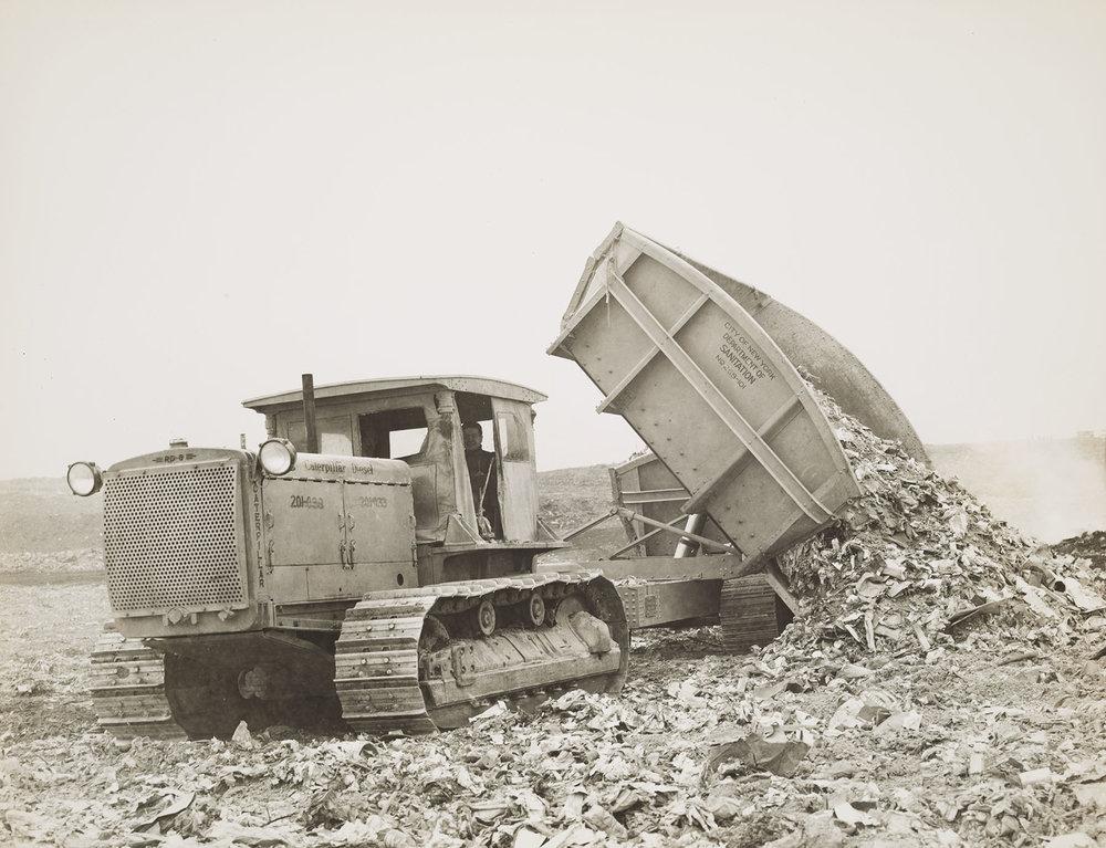 MAC_1058: Department of Sanitation tractor at Rikers Island Dump, ca. 1936. NYC Municipal Archives.
