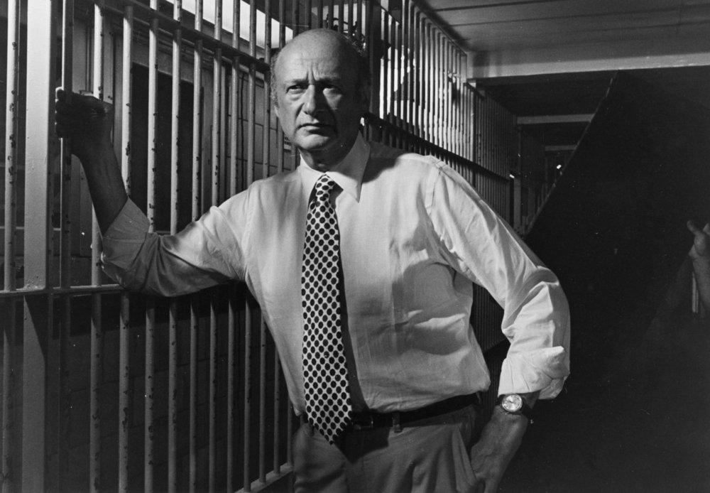 eik_08.010.0469: Mayor Edward I. Koch at Rikers Island filming a commercial on gun legislation, August 5, 1980. Mayor Koch Collection, NYC Municipal Archives.