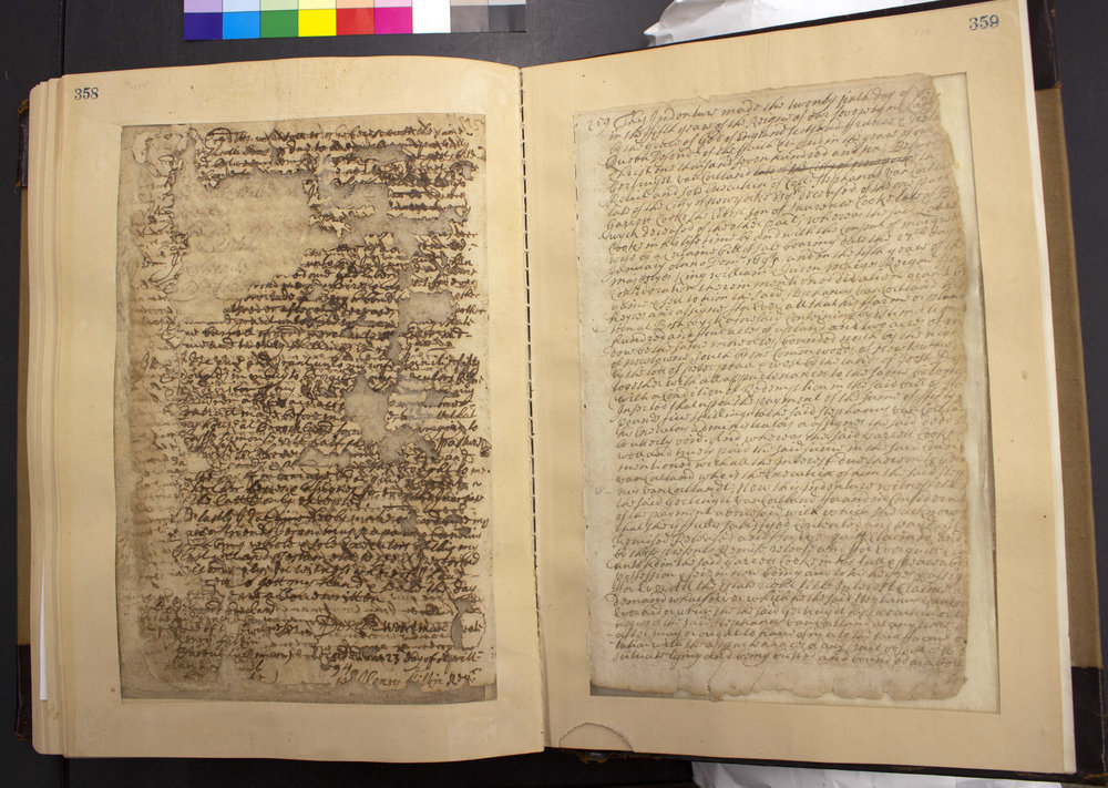 Book of 17th-century land conveyance records showing the variability in condition of different pages. NYC Municipal Archives Collections.