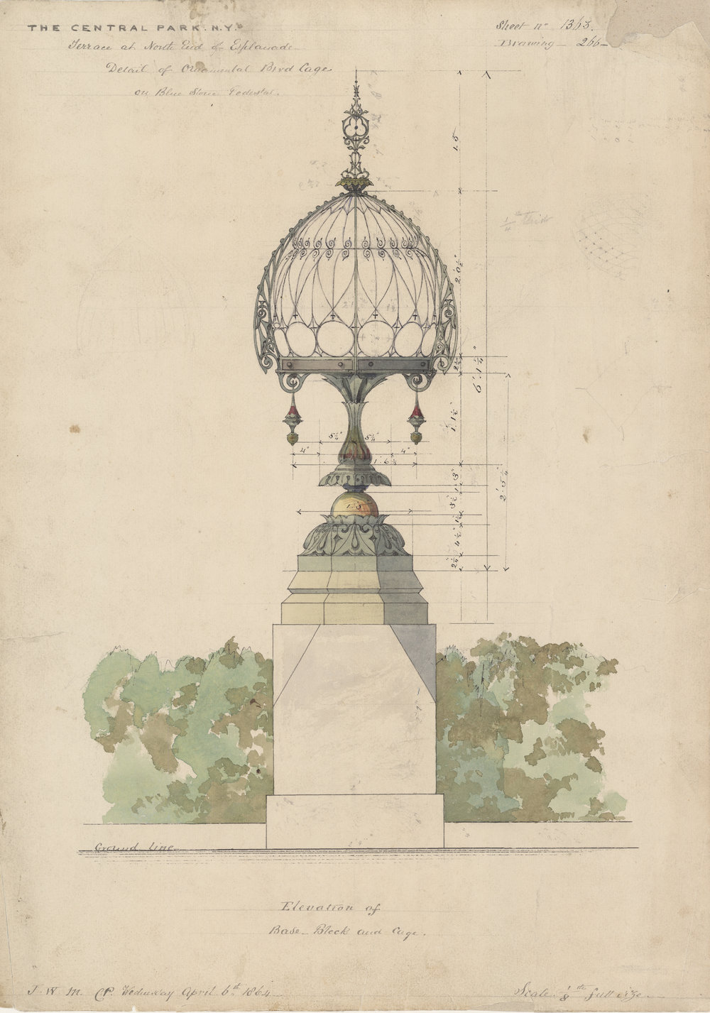 Ornamental birdcage on a blue stone pedestal, 1864.  Attributed to Jacob Wrey Mould, architect.  Black ink and watercolor with pencil on paper, 18 ½ x 13 ¼ inches