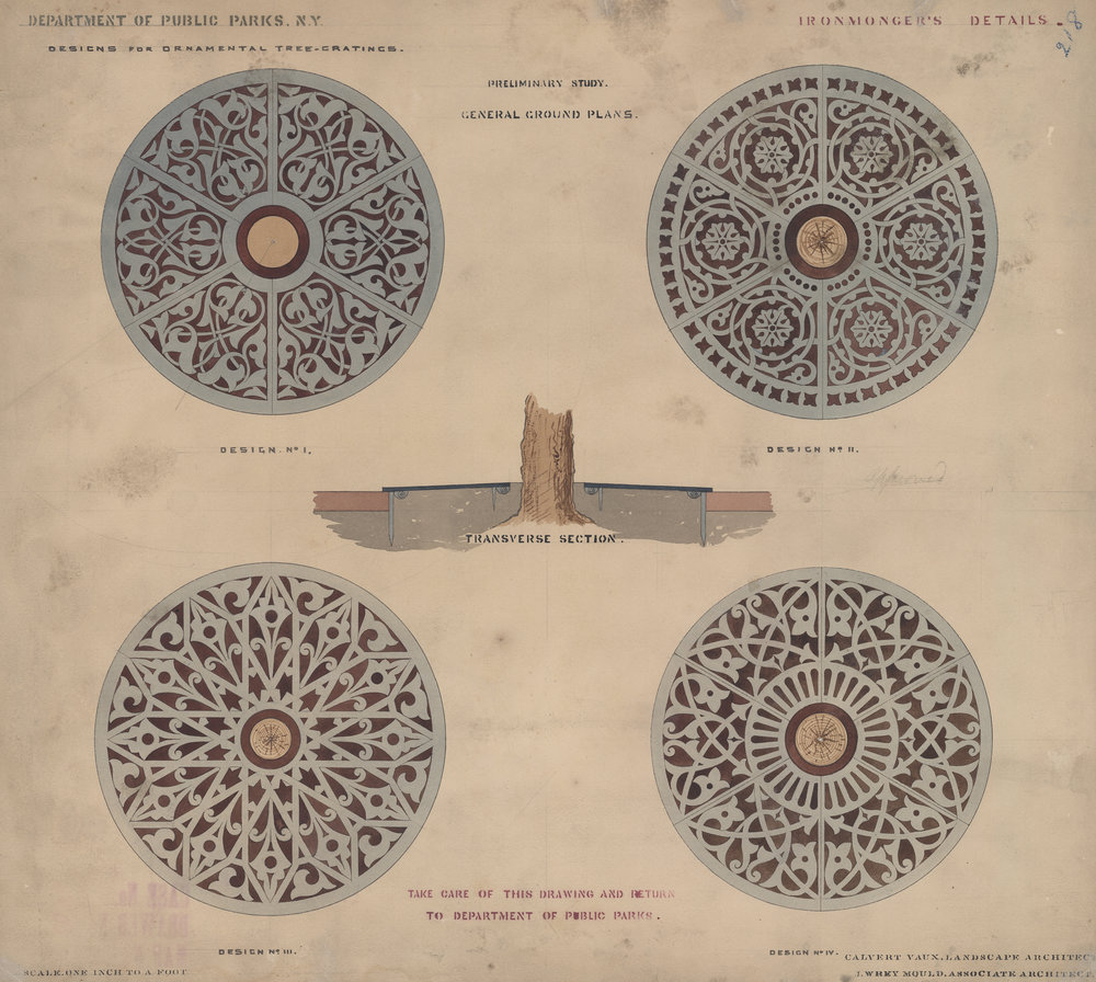 Ornamental tree gratings, ironmonger's details, c. 1872. Ink and watercolor on paper, 18 x 20 inches
