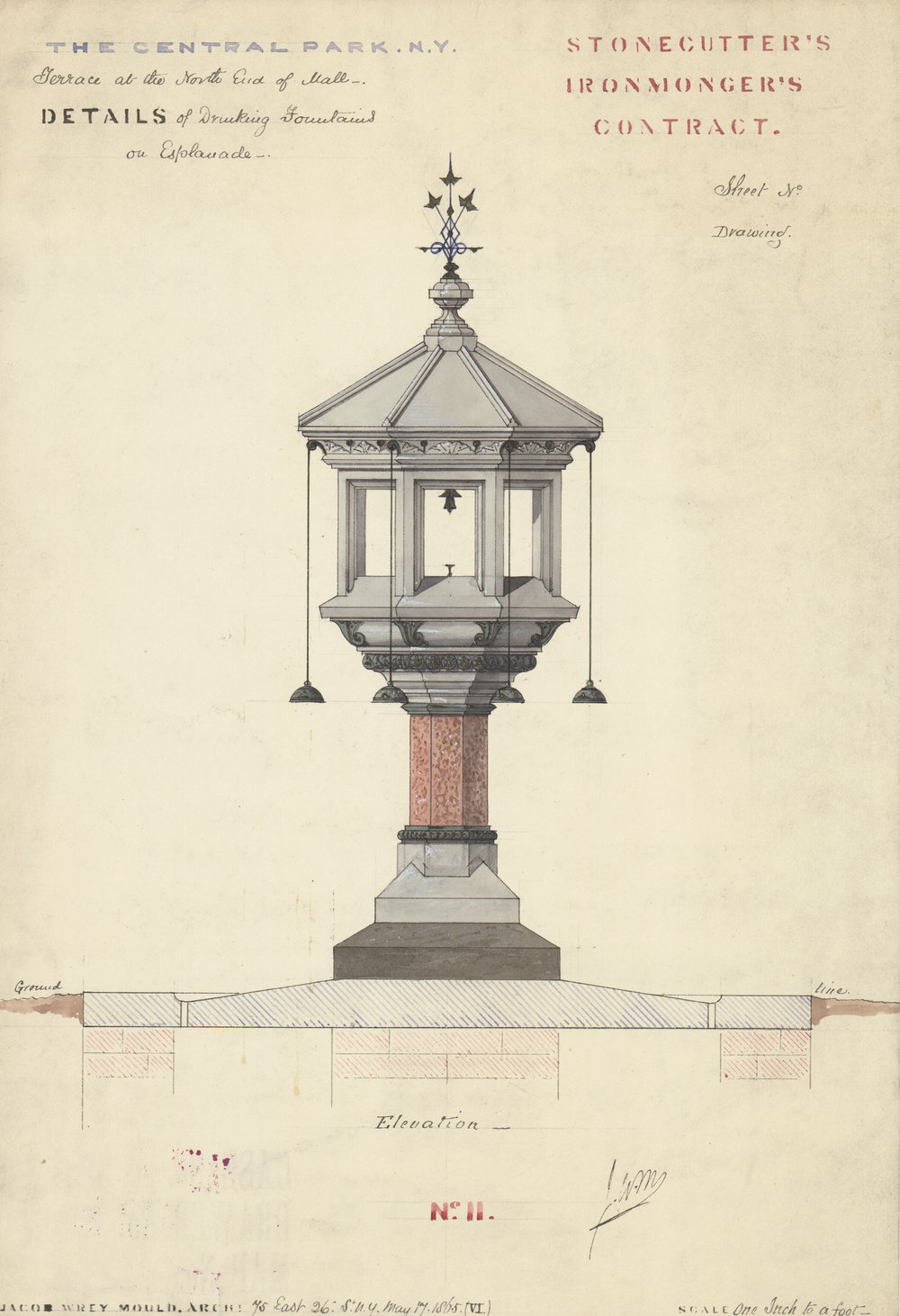 Drinking fountain on the Esplanade, elevation, stonecutter's and ironmonger's contract, 1865. Jacob Wrey Mould, architect.  Black and colored inks with colored washes on paper, 14 x 10 inches