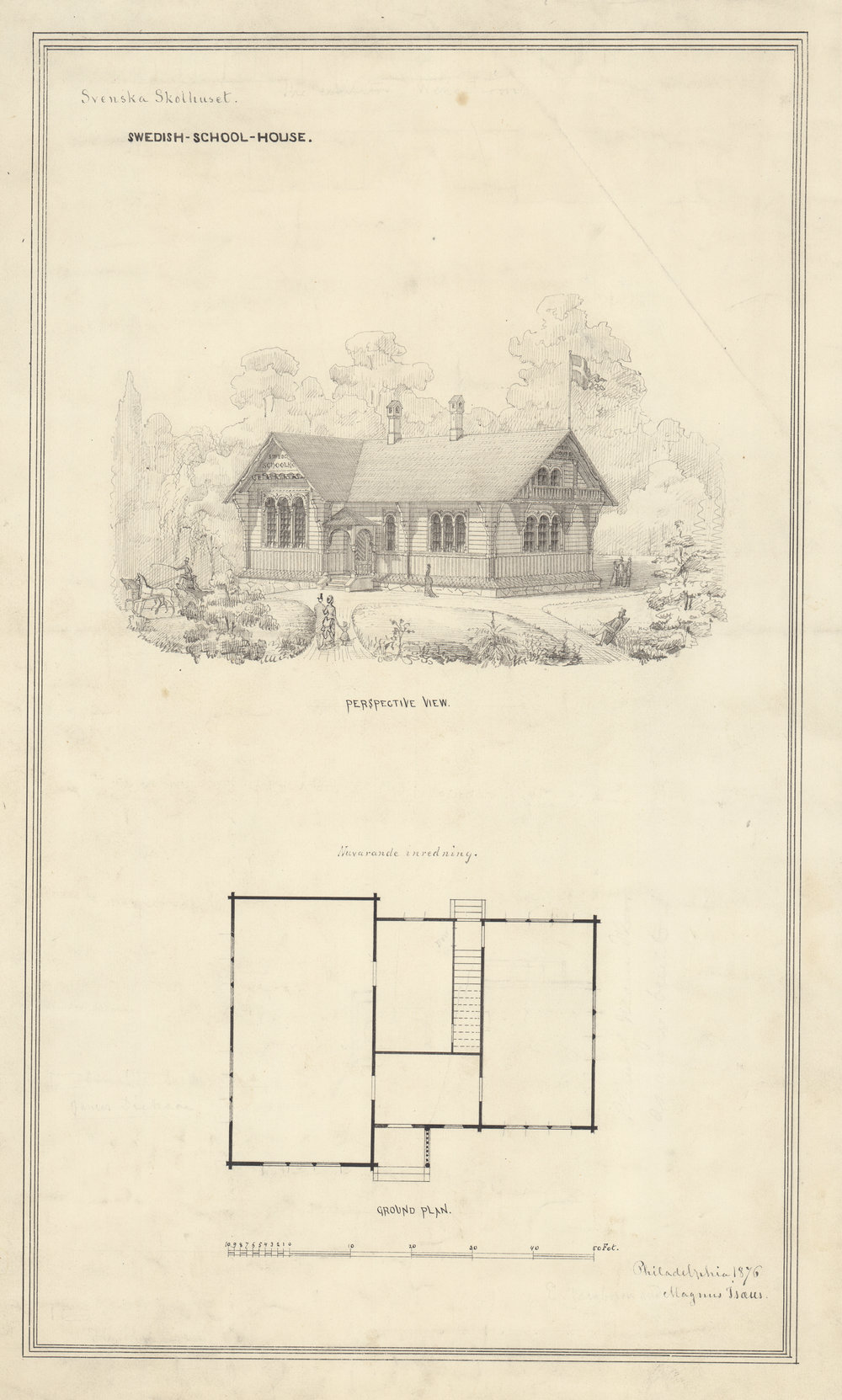 Swedish Schoolhouse (Svenska Skolhauset), perspective view and ground plan. Magnus Isaeus, architect, 1876. Black ink and pencil on paper, 21 x 14 inches.  The Swedish Schoolhouse is the only structure in park that was originally designed for something other than Central Park