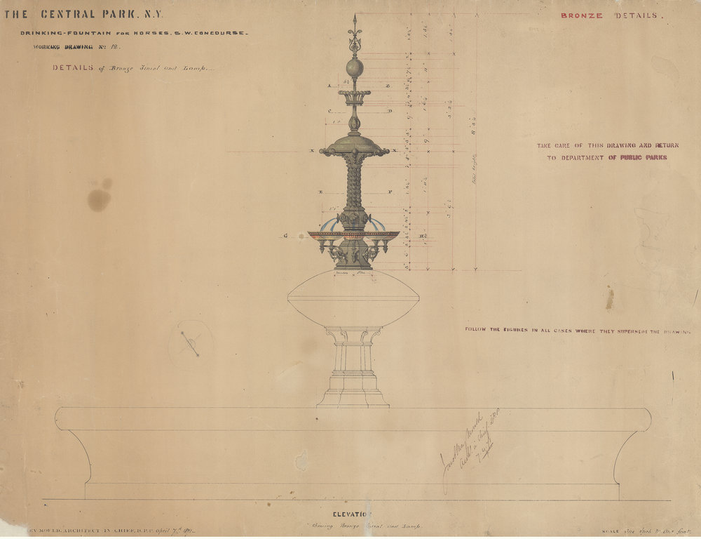 Drinking fountain for horses, bronze details, 1871. Black and red ink with colored washes on paper, 17 x 25 inches