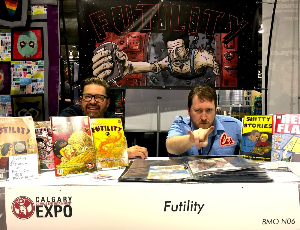 FUTILITY Comic: Rock Overwater & Cam Hayden - Booth N06 (Photo credit: Chris Doucher/GeekNerdNet.com)