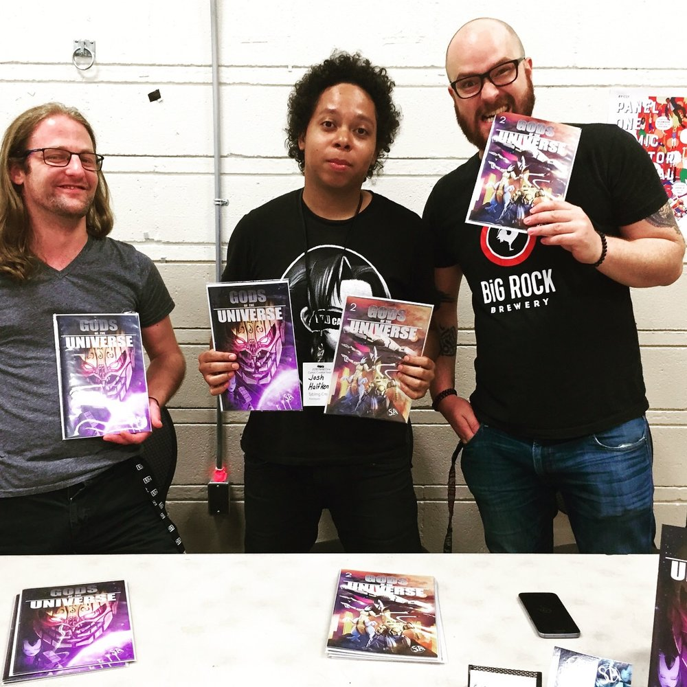 Gods of the Universe creative team (L to R): Josh Sinclair, Josh Halfkenny and Samer Abbas   (Photo credit: Chris Doucher/GeekNerdNet)