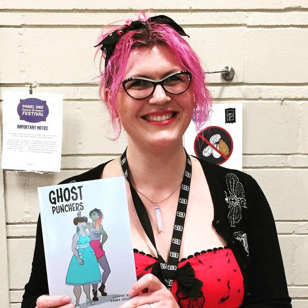 Creator of Ghost Punchers, Ember Cescon, at the 2018 Panel One Comic Creator Festival   (Photo credit: Chris Doucher/GeekNerdNet)