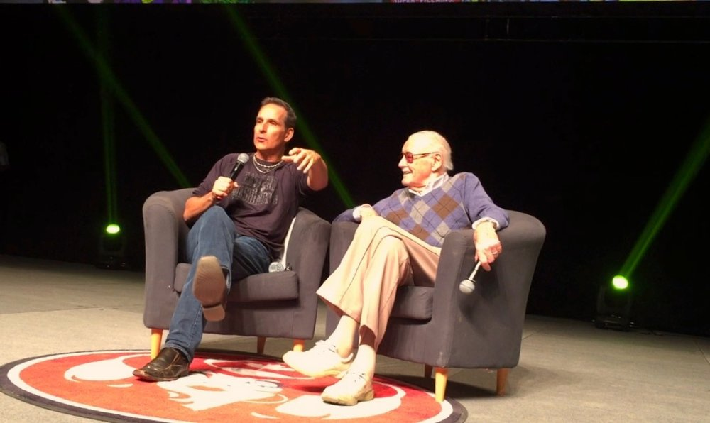 Todd McFarlane moderating Stan Lee's panel at the 2017 Calgary Expo   (Photo credit: Chris Doucher/GeekNerdNet.com)