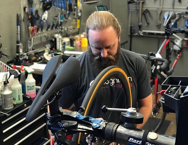 Who? Hollister.  One of our lead mechanics.  Need a pro tune? Cognition and Hollister have you covered! #bikemechanic #cognitioncyclery #vintage #fixit