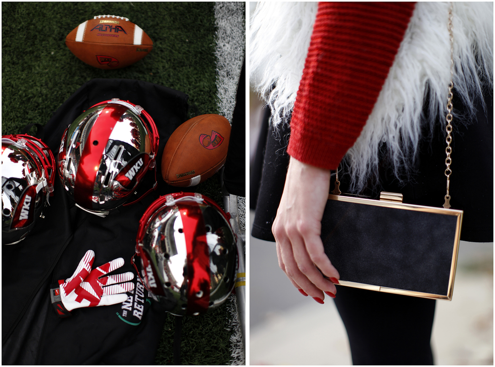 Left: Football equipment rests on the sidelines during WKU's Homecoming football game on Saturday, Nov. 8, 2014 in L.T. Smith Stadium.  Right: Rachel Sheldon, an Owensboro senior and fashion major, mixes several different textures in her outfit for Homecoming on Saturday, Nov. 8, 2014.