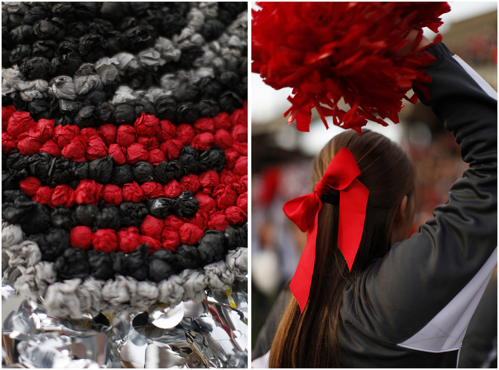 Left: Homecoming floats are displayed along Avenue of Champions during Homecoming festivities on Saturday, Nov. 8, 2014. Right:  Ashley Begley, a Nicholasville junior and cheerleader, cheers on the sidelines of WKU's Homecoming game in L.T. Smith Stadium on Saturday, Nov. 8, 2014.