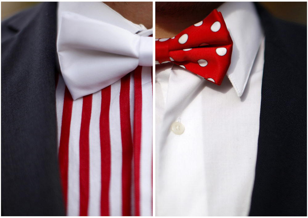 Left: Nick Courtney, a junior and Pike fraternity member, wears a stripped shirt and white bow tie during Homecoming festivities on Saturday, Nov. 8, 2014.  Right: Sean Landry, a senior and Kappa Alpha fraternity member, wears a white shirt and polka dot bow tie during Homecoming festivities on Saturday, Nov. 8, 2014.