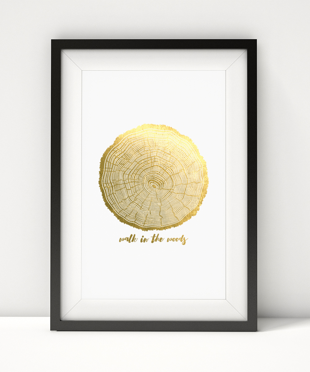 Clear your mind and walk in the woods. You'll be reminded of nature's simplistic beauty with this luxe white print (100 lb. stock) with gold foil.