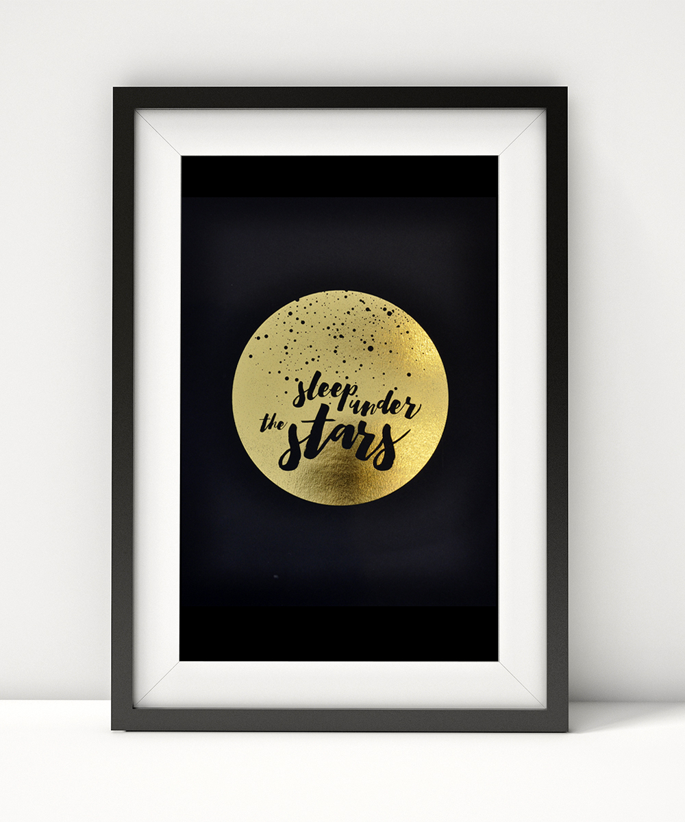 You know that feeling of vastness you get when you sleep under the stars? It's humbling and beautiful and all here in this rich black (100 lb. stock) print with gold foil.