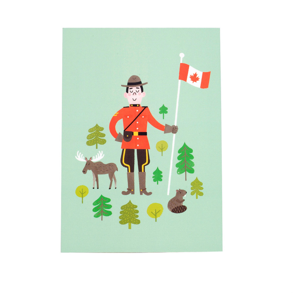Mountie postcard by Jacqui Lee for Little Blue Canoe